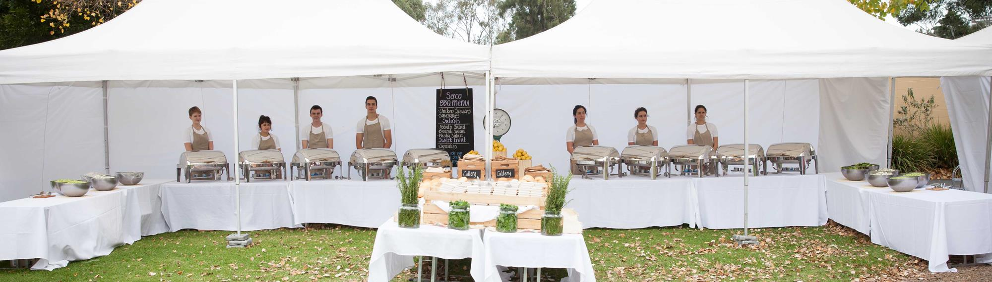 Marques provide a shady outdoor location to have a buffet style lunch for your next private event.
