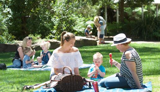 Families sitting on picnic rugs on soft green grass in beautiful lush gardens. Parents smiling at children who are happily eating icy poles.