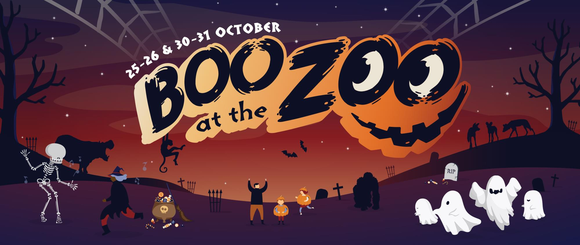Boo at the Zoo banner. Image is cartoon and Halloween based with ghosts, grave stones, spider webs and people dressed in costumes. Sunset orange colours and African animals are silhouetted on the horizon.