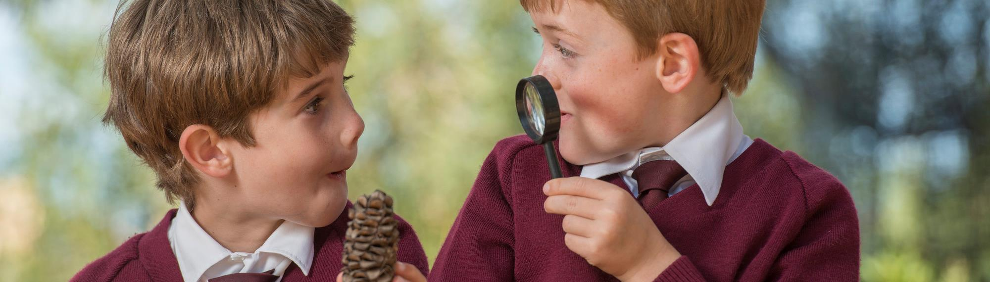 Two students using a magnifying glass to look closely at a banksia seed pod in Habitat Garden.